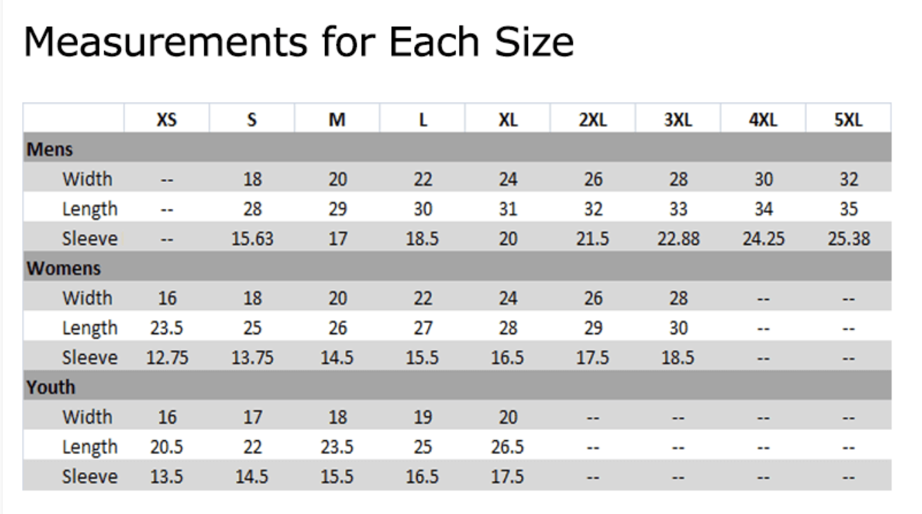 size chart for 2021 DCBA shirts