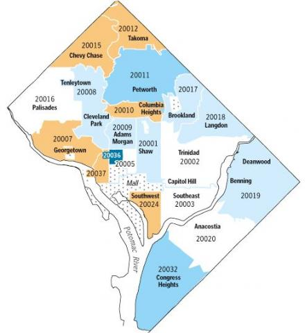 DC zip code map